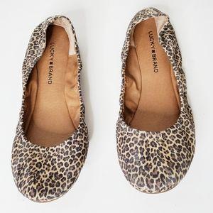 Lucky Brand Emmie Leopard Ballet Flats Size 10